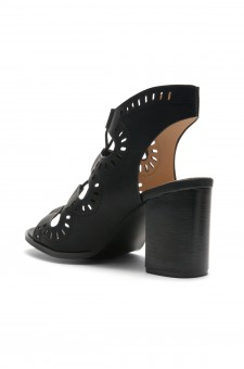 HerStyle Arrinn Geometric cutouts lace-up sandal (Black)