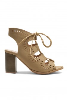 HerStyle Arrinn Geometric cutouts lace-up sandal (Camel)