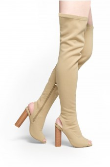 HerStyle Aryanna-Thigh high sock boots (Beige)