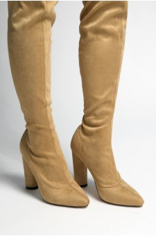 Women's Khaki Asasadda Pointy Toe Over- The -knee Thigh-hi Boots