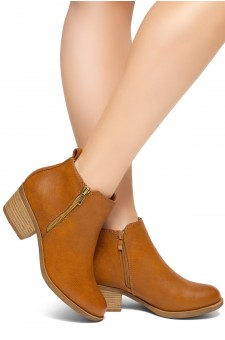 HerStyle Ashlyn Women's Western Ankle Bootie Closed Toe Casual Low Stacked Heel Boots (Tan)