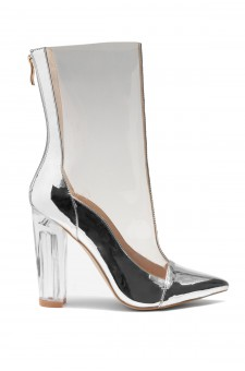 HerStyle Audrianna Clear Perspex Ankle Boot (Clear Silver)