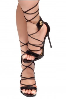HerStyle AUGUST-Stiletto heel, front lace-up, back closure sandals (Black)