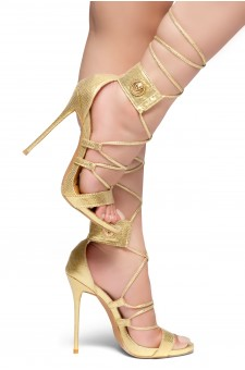 HerStyle AUGUST-Stiletto heel, front lace-up, back closure sandals (Gold)