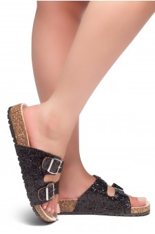 HerStyle AVALON- Double Buckled Cork Foot bed Sandal with Encrusted Iridescent Glitter details (Black Glitter)