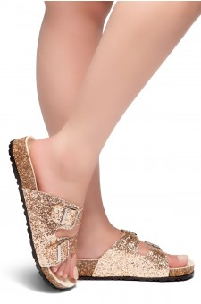HerStyle AVALON- Double Buckled Cork Foot bed Sandal with Encrusted Iridescent Glitter details (RoseGold)