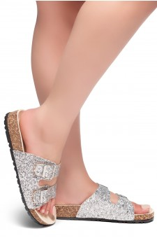 HerStyle AVALON- Double Buckled Cork Foot bed Sandal with Encrusted Iridescent Glitter details (Silver)