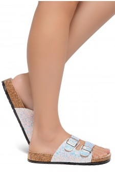 HerStyle AVALON- Double Buckled Cork Foot bed Sandal with Encrusted Iridescent Glitter details (WhiteGlitter)