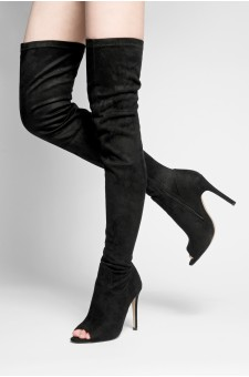 HerStyle Avery peep toe, thigh high, stiletto heel - black