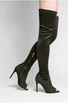 HerStyle Avery peep toe, thigh high, stiletto heel - olive
