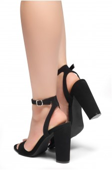 HerStyle BABY GRAND-Open Toe Ankle Strap Chunky Heel (Black)