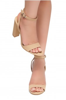 HerStyle BABY GRAND-Open Toe Ankle Strap Chunky Heel (Nude)