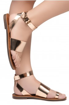 Shoe Land Bandi-Wide Vamp with Toe Ring Ankle Straps Sandals (RoseGold)