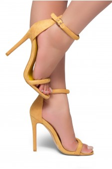 HerStyle Bashinna Ankle Rounded Strap, Open Toe, Stiletto Heel - Mustard