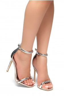 HerStyle Bashinna Ankle Rounded Strap, Open Toe, Stiletto Heel - Silver