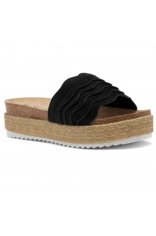Shoe Land Beast Coast-2-Women's Slide On Footbed Comfort Platform Wedge Sandals with Espadrilles (Black)
