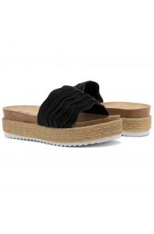 Shoe Land Beast Coast-2-Women's Slide On Footbed Comfort Platform Wedge Sandals with Espadrilles (Black)