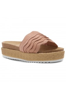 Shoe Land Beast Coast-2-Women's Slide On Footbed Comfort Platform Wedge Sandals with Espadrilles (Mauve)