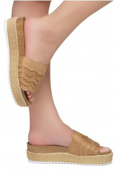 Shoe Land Beast Coast-2-Women's Slide On Footbed Comfort Platform Wedge Sandals with Espadrilles (Tan)