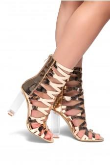 HerStyle Beatritz Perspex heel, cutout details Booties (Rose Gold)