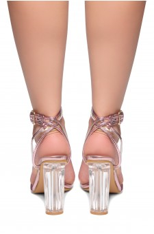 HerStyle Beautie-Perspex heel, ankle strap with an adjustable buckle(Clear Fuchsia)