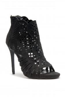 HerStyle Women's Manmade Belidda  a peep toe, stiletto heel, lacer cutter design -Black