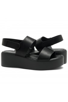 HerStyle Belma- Open Toe Velcro Strap Double-Banded Vamp with Platform Wedge (Black)