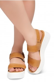 HerStyle Belma- Open Toe Velcro Strap Double-Banded Vamp with Platform Wedge (Camel)