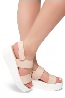 HerStyle Belma- Open Toe Velcro Strap Double-Banded Vamp with Platform Wedge (Mauve)