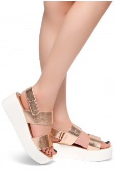 HerStyle Belma- Open Toe Velcro Strap Double-Banded Vamp with Platform Wedge (RoseGold)
