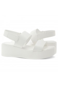 HerStyle Belma- Open Toe Velcro Strap Double-Banded Vamp with Platform Wedge (White)