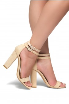 HerStyle Berttie Open Toe, Ankle Strap, Chunky Heel (Tan)