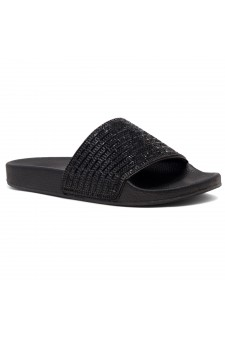 Shoe Land Best Wishes-Women's Fashion Rhinestone Slide Slip On Summer Sandals (Black)