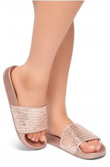 Shoe Land Best Wishes-Women's Fashion Rhinestone Slide Slip On Summer Sandals (RoseGold)