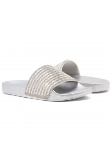 Shoe Land Best Wishes-Women's Fashion Rhinestone Slide Slip On Summer Sandals (Silver)