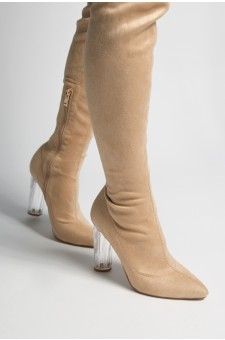 women's Camel Biellaa Pointy Toe Over-The-Knee Thigh-Hi Boots, Perspex heel