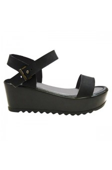 Women's Black Bonelliiee 3-inch Wedge Sandal Brilliant Buckled Strap