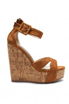 Women's Cognac Manmade Brenee 6-inch Cork Wedge Sandals with Bold Ankle Buckle
