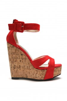 Women's Red Manmade Brenee 6-inch Cork Wedge Sandals with Bold Ankle Buckle