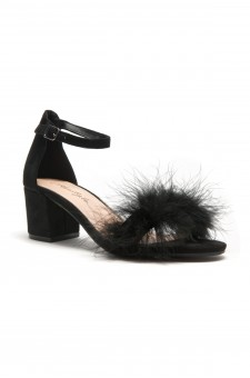 HerStyle Women's Manmade Brenleey Suede Faux Feather Accent Ankle Strap Low Chunky Heel Sandal - Black