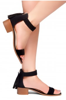 HerStyle Bruefly- Low Block Heel Back Zipper with Tassels Sandal (Black)