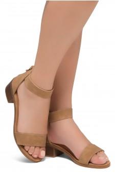HerStyle Bruefly- Low Block Heel Back Zipper with Tassels Sandal (Tan)