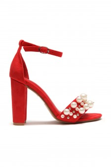 HerStyle Women's Manmade Caachee faux pearl embellishments, Open Toe Ankle Strap Chunky Heel -Red