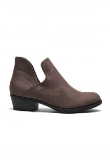 HerStyle Cabbe-Almond toe, stacked heel (Grey)