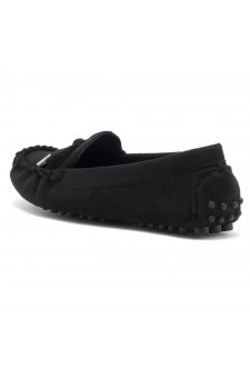 Women's  Canal Manmade Moccasin Flat with Metallic Tipped Bow (Black)