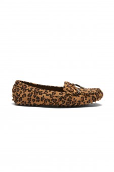 Women's Canal Manmade Moccasin Flat with Metallic Tipped Bow (Leopard)