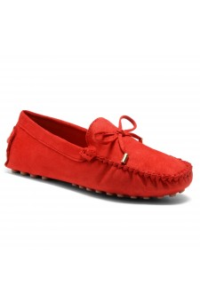 HerStyle Women's Canal Manmade Moccasin Flat with Metallic Tipped Bow (Red)