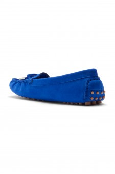 Women's  Canal Manmade Moccasin Flat with Metallic Tipped Bow (RoyalBlue)