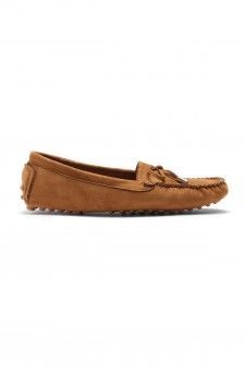 Women's  Canal Manmade Moccasin Flat with Metallic Tipped Bow (Tan)