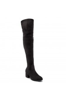Shoe Land CARAA-Women's Suede Fashion Thigh High Block Heel Side Zipper Back Lace Over The Knee Casual Boots (Black)